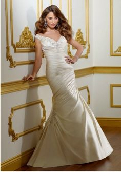 Wedding Dresses, Bridesmaid Dresses, Prom Dresses and Bridal Dresses Mori Lee In Stock Wedding Dress - Style 1805 - Mori Lee Wedding Dresses, Spring Lustrous satin off the shoulder fitted asymmetrical ruched gown detailed with embroidery and a v-neckline. Pleated Wedding Dresses, V Neck Wedding Dress, 2015 Wedding Dresses, Wedding Dress Sizes, Bridal Dresses, Wedding Gowns, Bridesmaid Dresses, Prom Dresses, Dresses 2014