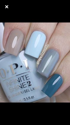 OPI Fiji Skittle Manicure - I am wearing (from pointer to pinkie finger) Coconuts Over OPI, Suzi Without a Paddle, I Can Never Hut Up and Is that a Spear in Your Pocket? Nagellack Trends, Super Nails, Nagel Gel, Opi Nails, Gel Manicures, Nails 2017, Nail Nail, Blue Nails, Brown Nails