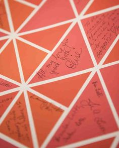 Katie designed a poster in the wedding's color palette in a geometric pattern of triangles that guests signed in lieu of a traditional book. It was printed on archival paper with UV-resistant inks and hangs in the couple's apartment as a reminder of the special day and the loved ones who were able to share it.