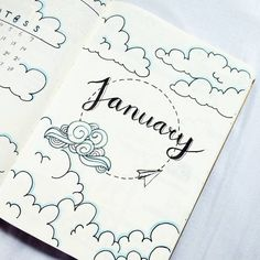 @bujo.by.marieke Bullet journal January cover page cloud theme inspired by @my.life.in.a.bullet
