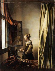 Das Kunstwerk Brieflesendes Mädchen am offenen Fenster - Jan Vermeer van Delft liefern wir als Kunstdruck auf Leinwand, Poster, Dibondbild oder auf edelstem Büttenpapier. Sie bestimmen die Größen selbst.