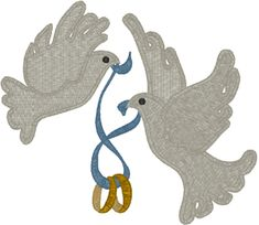 Wedding Rings Doves Embroidery Design