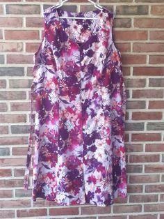 Womens Hawaiian Tiki Palm Pink Purple Floral Button Down Dress Sz XXXL 3XL #TikiPalm #Sundress #Casual