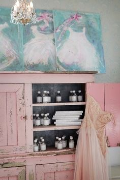 tutu painting by laurence amelie and the pink cupboard at Shabby Chic Couture boutique Casas Shabby Chic, Estilo Shabby Chic, Shabby Chic Interiors, Shabby Chic Homes, Shabby Chic Style, Shabby Chic Decor, Laurence Amelie, Interiores Shabby Chic, Shabby Chic Couture