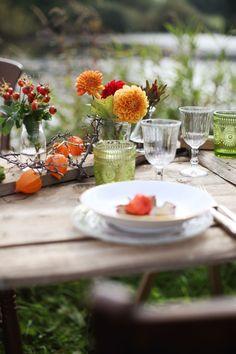 Herbst Hochzeit, Fall Wedding, See Hochzeit, Tischdekoration Hochzeit, grün orange