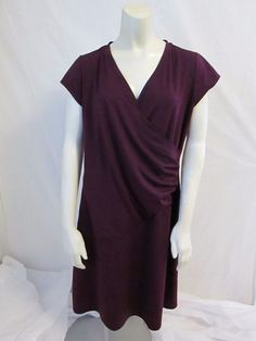 Athleta Purple Cap Sleeve Faux Wrap Polyester Spandex Solid Casual Dress L #Athleta #FauxWrapDress #Casual