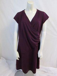 Athleta Purple Cap Sleeve Faux Wrap Polyester Spandex Solid Casual Dress L #Athleta #FauxWrapDress #Casual
