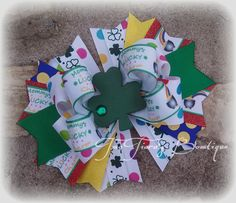 Ready to Ship Mommy's Lucky Charm Boutique Bow One of a kind! Original By Two Tiara's Bowtique on etsy or facebook. St. Patrick's Day pot of gold leprechaun lucky green