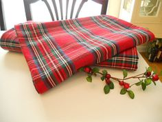 Vintage Tartan Plaid Tablecloth by thedaysisters on Etsy, $30.00