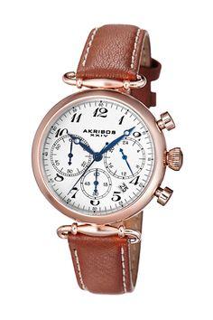 Akribos XXIV Women's Brown Genuine Leather Chronograph Watch by Akribos on @HauteLook