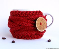 Christmas Cup Cozy in Cranberry Red, Ruby Coffee Cozy, Coffee Sleeve, Mug Cozy  Winter Robin Wine Berry Cherry. $17.50, via Etsy.