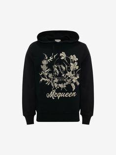 Deconstructed Floral Skull Hooded Sweatshirt in Black Mix | Alexander McQueen CA Floral Skull, Deconstruction, Men's Style, Hooded Sweatshirts, Alexander Mcqueen, Hoods, Streetwear, Gifts For Her, Street Style