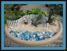 fairy gardens in bird baths | Use your imagination, and make several. It is almost like playing with ...