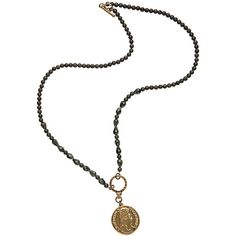 French Kande Louis Medallion in Green Pyrite/Quartz ($220) ❤ liked on Polyvore