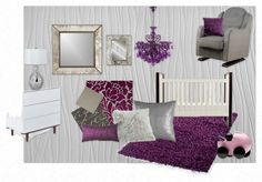 silver gray purple baby girl nursery