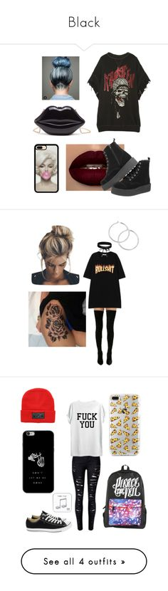 """""""Black"""" by bbysimba ❤ liked on Polyvore featuring R13, Cape Robbin, Boohoo, outfit, simple, MyStyle, trend, Converse, Happy Plugs and casualoutfit"""
