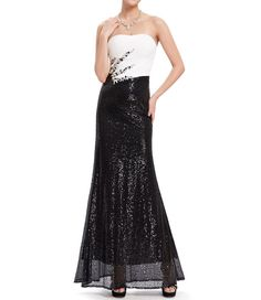 Bridal women s rhinestones strapless long black sequins prom