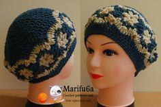 How to crochet beret hat  with flowers free pattern tutorial