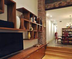 use of brick and shelf