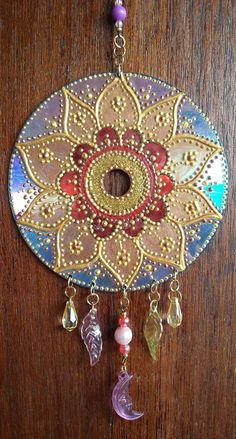 This beautiful representation of a mandala is an original design and each dot is carefully placed with my hands onto a – Artofit Old Cd Crafts, Sand Crafts, Diy And Crafts, Dot Art Painting, Mandala Painting, Recycled Cds, Vinyl Record Art, Cd Art, Deco Boheme