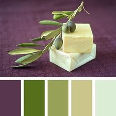 Very calm, but at the same time deep palette combines both noble olive shades and purple-magenta color. Thanks to creamy white shade it seems easy and brings peace and comfort. This palette is perfect for interior dining room in Mediterranean style. Purple Paint Colors, Purple Color Palettes, Colour Pallette, Colour Schemes, Color Combinations, Paint Schemes, Green Colors, Color Concept, Purple Bedrooms