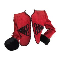 Givenchy Couture Red Suede Mink Trim Crop Jacket 1