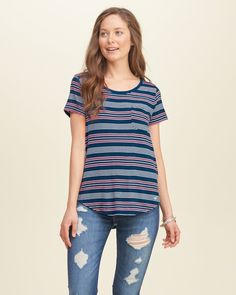 Your new favorite for anything, anywhere with a pocket at left chest, all-over pattern and an icon embroidered at curved hem, Imported