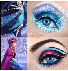 Frozen inspired makeup!!! These are crazy aaaamaaaazing!!! ❄️vs.☀️