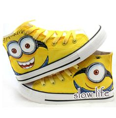 Minions painted Converse canvas shoes/Custom canvas shoes/Sneakers/Anime graffiti shoes/ gifts/Despicable Me/Converse Short Bootie shoes