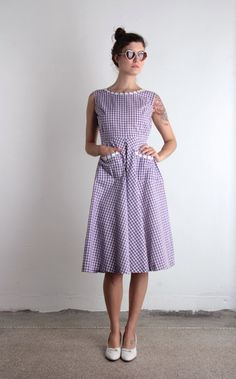LILAC  Gingham Dress . 60s Vintage Summer Frock . Purple and White Check Print on Etsy, $85.00