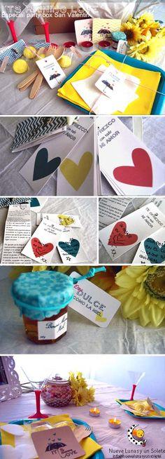 """Party box San Valentin """"I ts raining love""""....Precio 14.99€  Más información: info@nuevelunasyunsolete.com  El pack lleva:   - 2 platos aguamarina cuadrados  - 2 servilletas grandes amarillas  - 2 servilletas de coctail blancas  - 2 tenedores y cucharas de madera  - 2 tarjetas de San Valentín  - 2 copas de coktail rosa  - 1 juego para San Valentín  - 1 tarrito de miel y 5 golosinas amarillas  para hacer que la velada sea muuuy dulce;)"""
