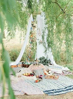 Boho tent & picnic with Crate and Barrel copper collection Backyard Pavilion, Backyard House, Fun Backyard, Outdoor Dinner Parties, Tent Wedding, Wedding Backyard, Romantic Backyard, Wedding Picnic, Wedding Reception