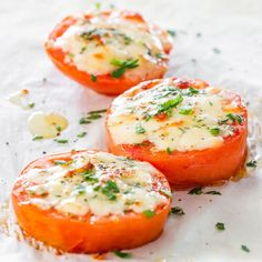 Baked Parmesan Tomatoes - super simple appetizer and a fun way to eat your tomatoes! Magic happens when you pair together tomatoes and Parmesan cheese.