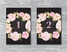 Peony Flower Chalkboard Wedding Reception Table by CreativePapier, $15.00