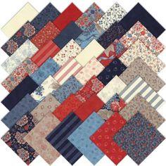 Moda Grant Park Charm Pack, Set of 42 5-inch (12.7cm) Precut Cotton Fabric Squares