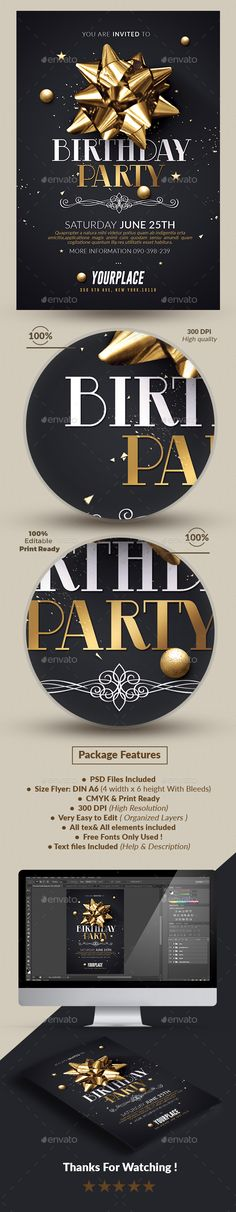 Birthday Party | Invitation Flyer Template PSD. Download here: http://graphicriver.net/item/birthday-party-invitation-flyer-template/16831945?ref=ksioks