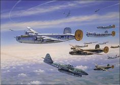 R-Bar Over Bielefeld, by Jim Laurier - 2nd November 44, B-24's of the 489th BG were sent to destroy the railroad marshaling yards at Bielefeld Germany. The Liberators were met by the new German jet fighters, the Me-262. It is believed to be one of the earliest jet attacks against U.S. heavy bombers. This was the 489th's first encounter with the Me-262, although rumors had been circulating through the squadrons during the preceding weeks about the strange new German aircraft.