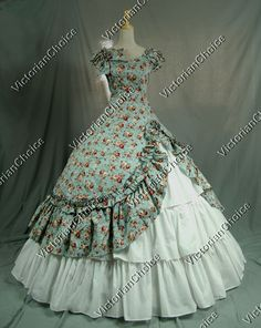 Southern Belle Civil War Cotton Gown Prom Dress Reenactment Clothing