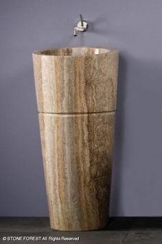 Pedestals: Veneto Pedestal Sink   Silver Travertine
