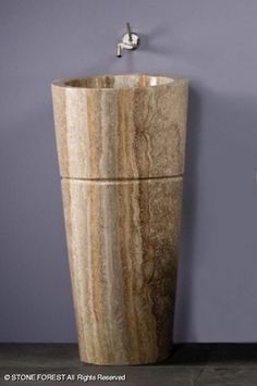 Superior Pedestals: Veneto Pedestal Sink   Silver Travertine