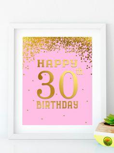 Items similar to Happy Birthday birthday decor gold birthday pink Birthday banner birthday party anniversary sign on Etsy Happy Birthday Signs, 30th Birthday Parties, Gold Birthday, 50th Birthday Party, 30th Birthday Decorations, Gold Party Decorations, Diy Banner, Printable, 65th Anniversary