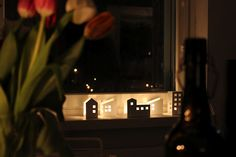 building shaped luminaries, made from thick cut paper Paper Cutting, Cut Paper, Fun Ideas, Building, Papercutting, Buildings, Cut Outs, Construction