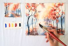 beginners tutorials and guide for watercolor painting techniques including wash, colors and wet dry textures