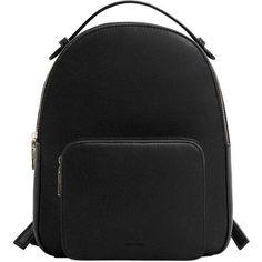 MANGO Zip pebbled backpack ($50) ❤ liked on Polyvore featuring bags, backpacks, backpack, accessories, bolsas, black, knapsack bag, zip backpack, zipper bag and pebbled-leather bags