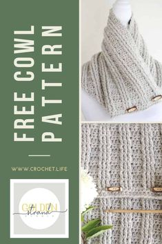 Easy Textured Cowl Pattern with 4 Toggle Accents is a perfect crochet gift idea that everyone will love.  #CrochetPattern #crocheting #crochetcowl #cowl Quick Crochet Gifts, Free Crochet, Shawl Patterns, Easy Crochet Patterns, Diy Crochet Projects, Crochet Scarves, Crochet Hats, Free Pattern, Cowls