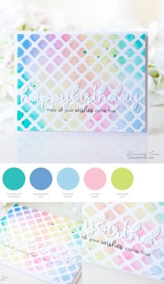 Pastel Birthday by Keeway Tsao for Papertrey Ink Paper Art Projects, Paper Crafts, Love Cards, Pretty Cards, Simple Colors, Vintage Roses, Ink Color, Color Themes, Color Combos