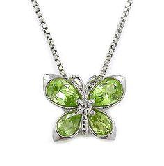 """Sterling Silver Peridot Gemstone Butterfly w/Chain - 18"""""""