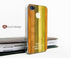 silvery iphone 4 case iphone 4s case iphone 4 cover Iphone colorized yellow wood texture image unique design printing. $16.99, via Etsy.