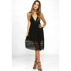 Absolutely Fabulous Black Lace Midi Dress ($45) ❤ liked on Polyvore featuring dresses, black, midi dresses, flared dresses, floral dresses, floral midi dress and lace dress