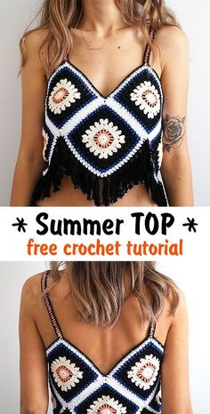 Summer Top crochet tutorial - Genia S. - Summer Top crochet tutorial Learn how to crochet this gorgeous top for summer. T-shirt Au Crochet, Mode Crochet, Crochet Shirt, Crochet Woman, Crochet Crafts, Diy Crochet Clothes, Crochet Ideas, Crochet Halter Tops, Bikini Crochet
